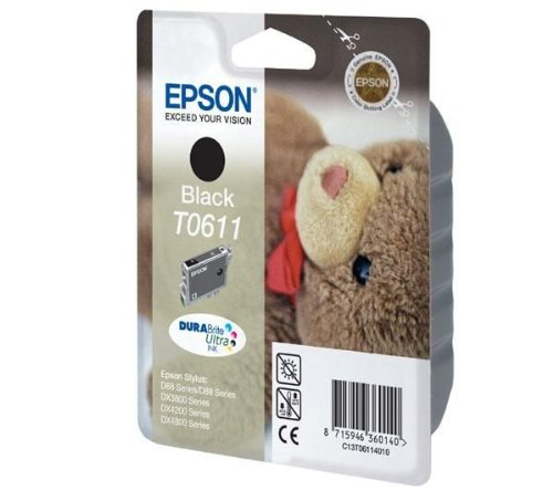 Epson C13T06114010 - Cartucho de tinta negro válido para EPSON Stylus DX4800 / DX4850 / DX4200 / DX4250 /DX3800 / DX3850 / D88 / D88+ / D68 Photo Edition, Ya disponible en Amazon Dash Replenishment