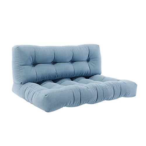 Vicco Palettenkissen Set Sitzkissen Rückenkissen Flockenfüllung Palettenmöbel (Sitz+Rückenkissen, Eisblau)