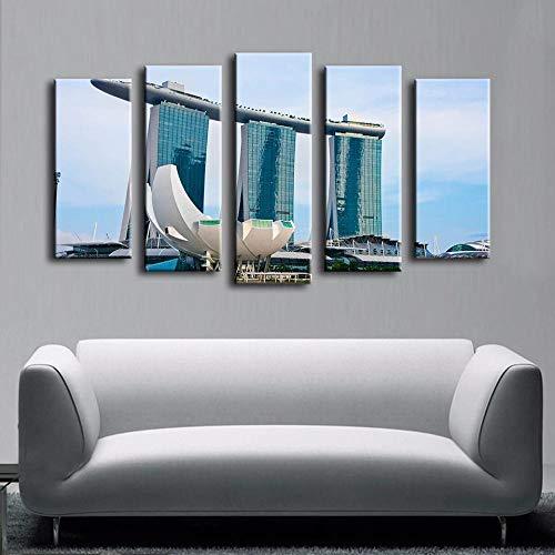 CGHBDOP Modular HD Lienzo Imagen 5 Piezas Cuadro sobre Arte Pared 5 Partes Modernos Mural Pool Casino Singapur Impresión Salón Decoración Frame Poster