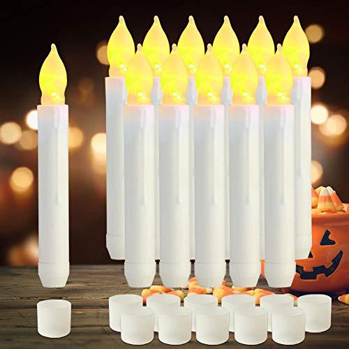 Raycare 12pcs LED Flameless Taper Candles with 6H Timer, 0.79''×6.5'' Battery Operated Fake Candles with Warm Yellow Flickering Flame, Dripless Candles for Church Themed Party Decorations