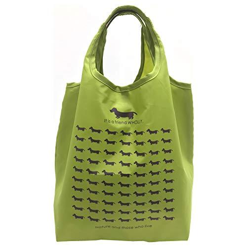 優美社 エコバッグ 犬柄 グリーン 約縦31×横25×マチ18cm WHOLLY 折りたたみ コンパクト 買い物袋 3L01-01