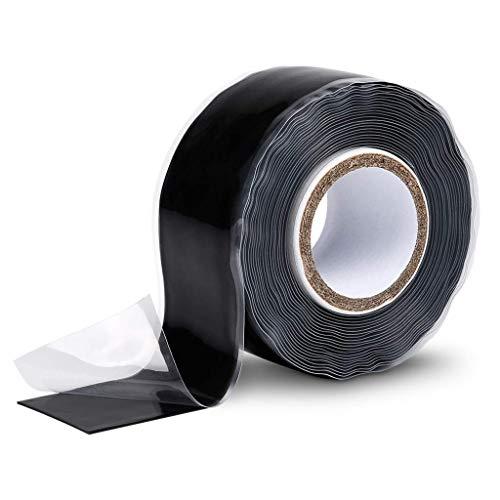 ABSINA selbstverschweißendes Isolierband 25 mm x 3 m - Silikonband schwarz für Wasser & Luft - Dichtungsband, Silikon Tape, Reparaturband, Elektro, Isoband Elektriker,...