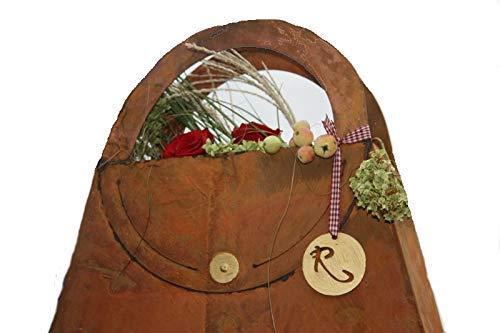 Rostikal   Edelrost Tasche zum befüllen, Rost Deko mit Laufsteg Look   41 cm
