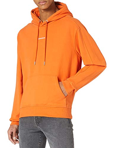 Calvin Klein Jeans Branding Hoodie Cappuccio Micro Marchio, Arancione ruggine, M Uomo