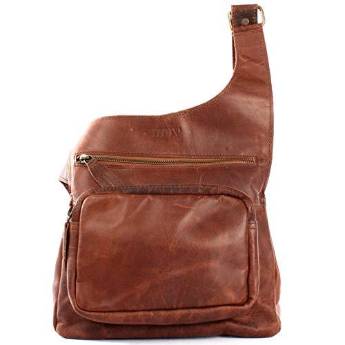 LECONI kleine Umhängetasche Leder Damen und Herren Used-Look Vintage-Style Natur praktische Ledertasche Crossbag Bodybag 25x24x5cm braun LE3015-wax