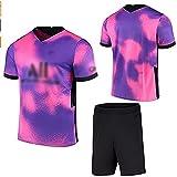 Weqenqing 2021 Nueva Camiseta De París Púrpura, Camiseta De Fútbol Para Niños, Camiseta Personalizada Para Niños Adultos, Camiseta + Pantalones Cortos (Color : Purple, Size : M)