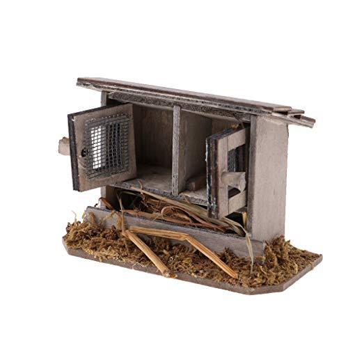 Milageto 1/12 Gallinero Nido Gallinero Jardín Al Aire Libre Miniaturas Artesanales para Jardín de Bricolaje