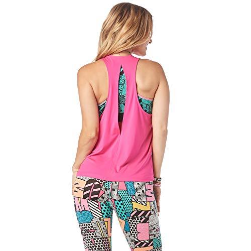 Zumba Camiseta de Entrenamiento Transpirable con Sexy Espalda Abierta para Mujer Mediano Rosa impactante