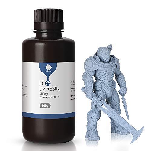 Anycubic stampante 3D in resina a base vegetale 405nm UV Rapid fotopolimero, resina a basso odore per stampanti Photon/S LCD/DLP/SLA 3D, 500ML, grigio., 1
