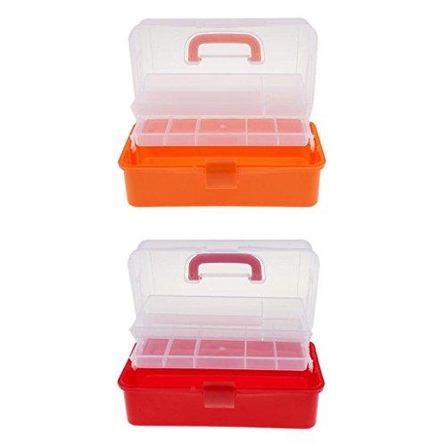 SM SunniMix (Pack De 2 Pièces) Boîte En Plastique - Boîte De Rangement En Plastique Avec Poignée De Transport Comme Boîte à Bijoux