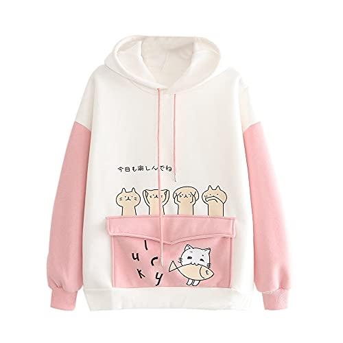 Yu Liao Kawaii Bunny Ear Hoodie para niñas Adolescentes, Fuzzy Rabbit Sweater Chaqueta Abrigos Mujeres Cat Print Sudaderas con Capucha de Manga Larga Sudaderas