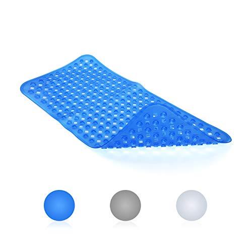 LEPO Badematte für Dusche und Badewanne, rutschfest mit Ablauflöchern und Saugnäpfen, maschinenwaschbare Badewannenmatte, klares Blau, 80 x 40cm