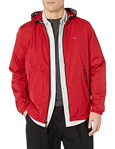 Calvin Klein Men's Lightweight Water and Wind Resistant Jacket, Deep Red, X-Large