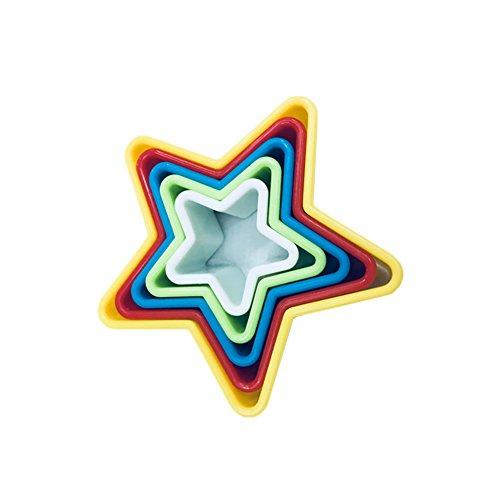 Fablcrew Lot de 5 Emporte-Pièces Moule en Forme de Pentagramme en Plastique pour Fondant Biscuit Cookie Pâtisserie