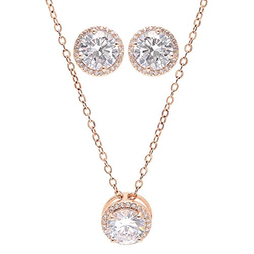 "Bridesmaid Gifts - Pretty Halo Cubic-Zirconia Necklace & Earrings Set (18"", Rose gold)"