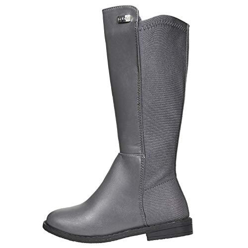 bebe Girls Riding Boots Size 3 Elastic Back Dress Winter Fashion Shoes Grey