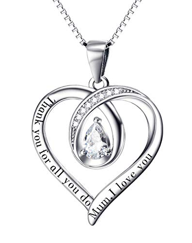 Gifts for Mum Necklace Mum Gifts Birthday Gifts for Mum Silver Necklace Mum Necklace I Love You Mum Heart Necklace (20inch)