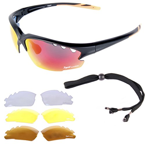 Rapid Eyewear 'Expert Cycle' GAFAS DE SOL PARA CICLISMO. También para mtb, correr y escalar. Para hombre y mujer. Lentes transparentes y polarizadas incluidas