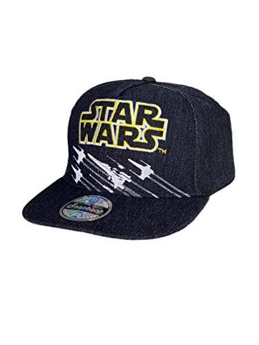 Classic Star Wars X-Wing Starfighter Embroidered Logo Outline Youth Flatbill Baseball Cap Hat, Black & Yellow