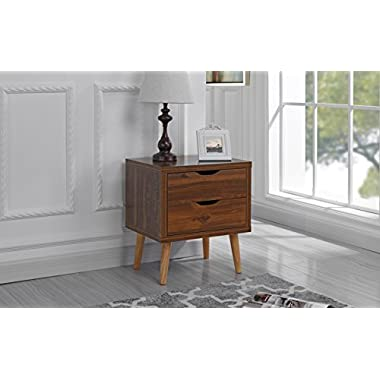 Sofamania Mid Century Modern Nightstand/Side Table with 2 Drawers (Brown)
