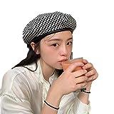 YDY Boina negra para mujer, diseño de pata de gallo, estilo vintage, sombrero de artista, a cuadros, sombrero de pintor, negro, China