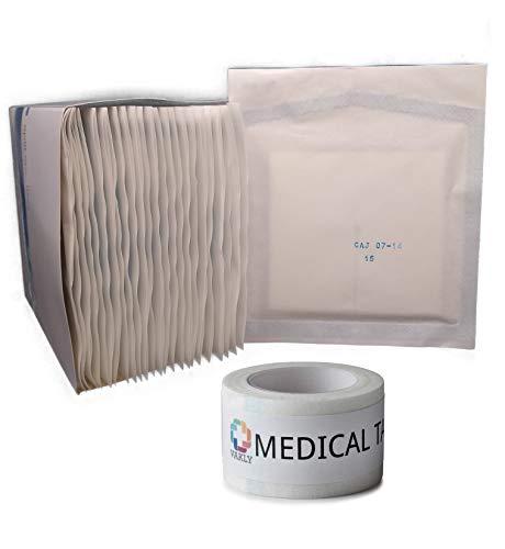Sterile 4'X4' 6 Ply Split Drain Sponge 25 Packs of 2 + 1 Roll of Vakly Medical Tape (1)