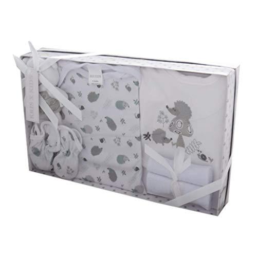 Caja de regalo para recién nacido de 7 piezas, de 0 a 3 meses Disponible en color azul o rosa blanco Set blanco Talla:recién nacido