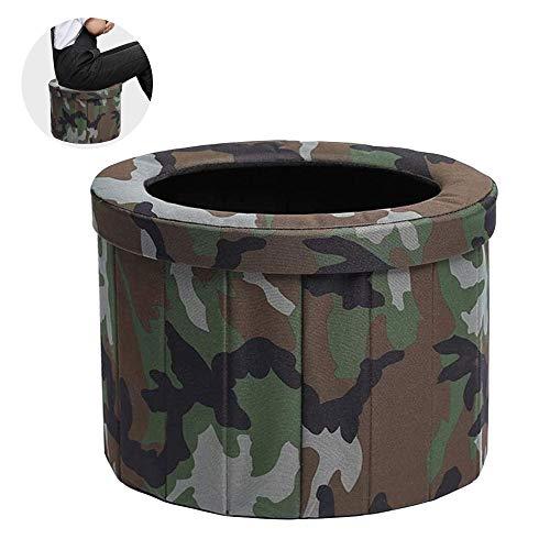 Chaise de camping pour l'extérieur - Toilettes pliantes avec 12 sacs de nettoyage - Convient pour le camping, la randonnée, les voyages de longue distance et les embouteillages (Camouflage)