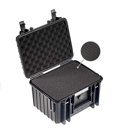 B&W Transportkoffer Outdoor Typ 2000 schwarz mit Würfelschaum - wasserdicht nach IP67 Zertifizierung, staubdicht, bruchsicher und unverwüstlich