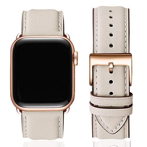 SUNFWR Lederbänder für Apple Watch Armband 38mm 40mm 42mm 44mm,Männer Frauen Ersatz-Echtlederband für iWatch Serie 6 5 4 3 2 1,SE,Sport,Edition(38mm 40mm,Elfenbein weiß&Roségold Adapter)
