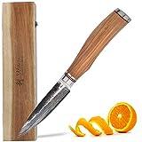Wakoli Olive HS Serie Damastmesser Officemesser 9 cm Klinge extrem scharf aus 67 Lagen I Damast...