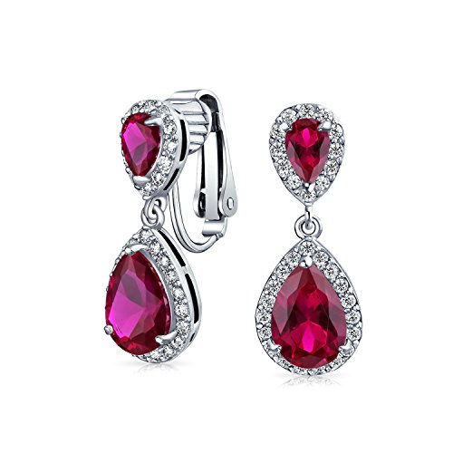 Red Teardrop CZ Halo Prom Drop Statement Clip On Earrings Simulated Ruby Cubic Zirconia Silver Plated Brass