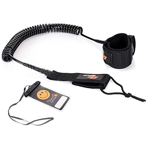 Goplus 11ft Surf Leash Coiled Safety Rope Set Ankle Strap with...