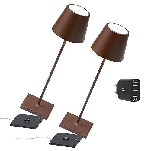 [Amazon Exclusive] Zafferano Kit 2x Lampada portatile Poldina Pro Corten,caricatore Aiino 2 porte USB per Ricarica Simultanea Lampada/Smartphone,LED Dimmerabile Touch,Base di Ricarica a Contatto,H38cm