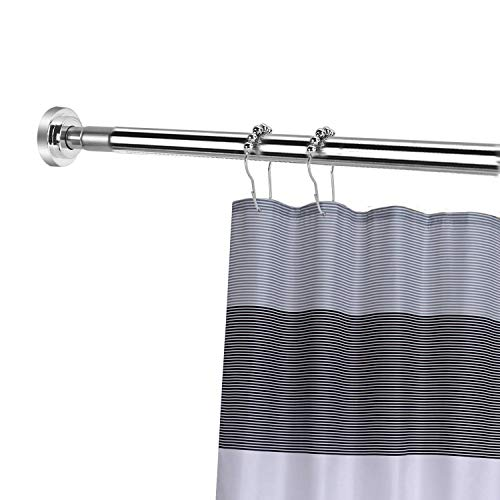 Yizhet Barra para Cortina de Ducha Extensible Barra telescópica de Acero Inoxidable para baño, Barral de tensión para Cortina de Ducha, Plateado (85-140 cm)