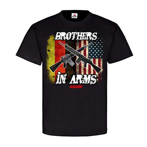 Brothers in ARMS Germany-USA Deutschland Amerika US Army Bundeswehr Fahne G3 Gewehr AR15 Waffenbrüder T-Shirt #20779, Größe:S, Farbe:Schwarz