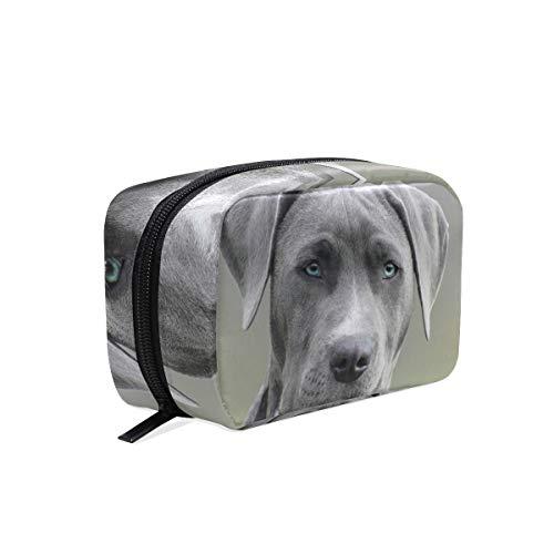 FANTAZIO Cosmetische tassen voor vrouwen zwart en wit korte jas hond make-up zakjes