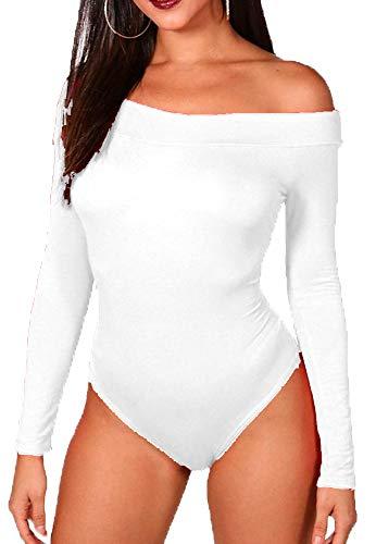 Bodi elástico para Mujer - Escote Bardot y Manga Larga - Color Liso - Blanco Liso - S/M - UK 8-10/EU 36-38