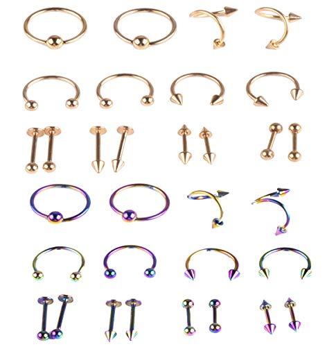 Liuer Neusstekers, 32 stuks, roestvrij staal, septum, hoefijzer, hoefijzerpiercing, ringen voor oor, wenkbrauw, lippenring, piercing, twee kleuren, verschillende modellering, goud en kleur
