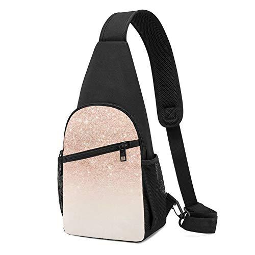 Borsa a tracolla in oro rosa con brillantini finti borsa a tracolla da viaggio per escursioni a tracolla, Nero , Taglia unica,