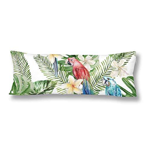 CiCiDi Seitenschläferkissen Kissen-Bezug 40x145 cm Tropische Dschungelblumenpalmblätter Atmungsaktives Kissenhüllen mit Reißverschluss Baumwollen und Polyester