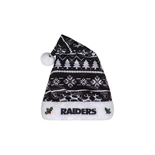 FOCO H10NFADLT NFL Las Vegas Raiders Plush Holiday Family Santa Hat CapPlush Holiday Family Santa Hat Cap, Team Color, One Size