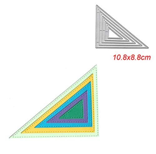 RKZM driehoek papier kunstmessen sterven reliëf snijden sjabloon DIY koolstofstaal messen sterven puzzel handgemaakt 8,8 x 10,8 cm