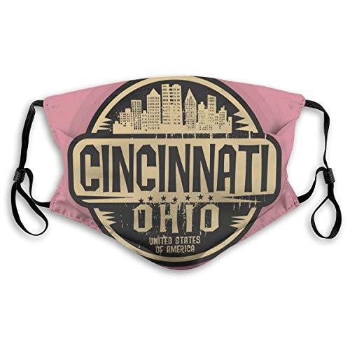 Cincinnati Gezichtskaft, stempellabel met letters, met draadloze fonts, wasbare anti-stof-afdekking voor volwassenen, maat M