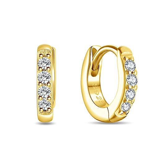 SHEGRACE Silver Hoops Earrings for Women 925 Sterling Silver 18K Gold plated Huggie Hinged Earrings with AAA Cubic Zirconia, Diameter 6mm Hypoallergenic Small Sleeper Hoops