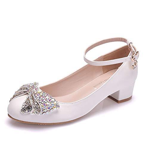 JOEupin Mary Jane Zapatos de vestir de tacón bajo con lazo y encaje para mujer, blanco (Blanco), 40.5 EU