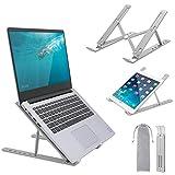 Yinleader Soporte portátil para portátil, 6 niveles de ajuste de altura, plegable, de aluminio, compatible con MacBook, Pad, Lenovo, Dell, HP Todas las tabletas de 7 a 17 pulgadas, color plateado