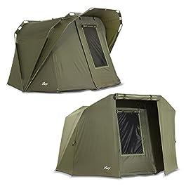 Lucx® Coon Bivvy + Winterskin Tente de pêche pour 1 à 2 personnes + couverture – 1 à 2 personnes + Surwrap Carp Dome…