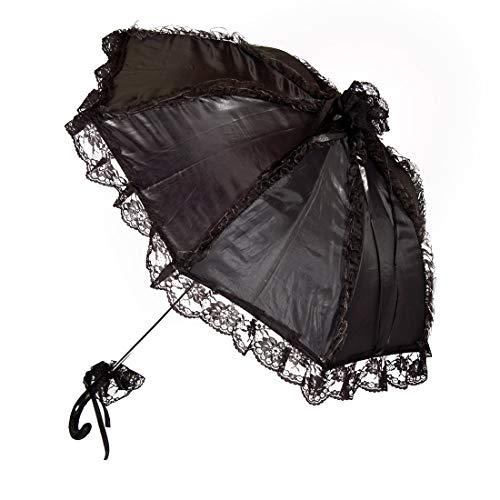 NET TOYS Edler Spitzenschirm mit Rüschen - Schwarz 62cm - Hochwertiges Damen-Accessoire Deko-Schirm Barock - Perfekt geeignet für Karneval & Mottoparty