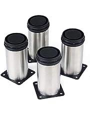 PIXNOR Ronde poten roestvrij staal keuken verstelbare meubelpoten - 4 (zilver)